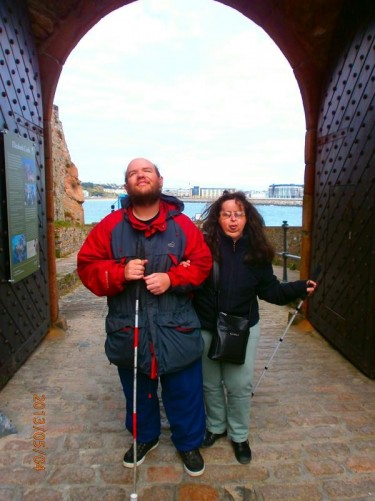 Tony and Tatiana at an old gate from the slipway through the outer walls into the castle grounds.