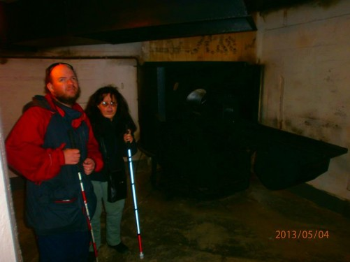 Tony and Tatiana inside a Second World War German bunker.