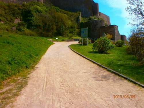A path leading up to Mont Orgueil Castle, which is located on a headland at Gorey, on the eastern side of Jersey.