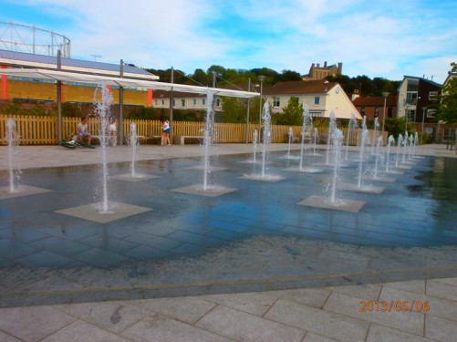 Back in St Helier. Paved area with lots of small fountains at Millennium Town Park.