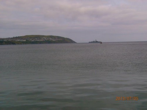 View across Douglas Bay from the promenade. A warship away in the distance.