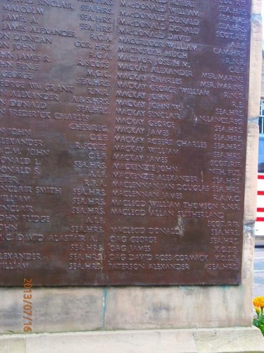 A closer view of one of the plaques on the war memorial inscribed with the roll of honour.