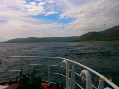 Approaching Hoy, the second largest of the Orkney Islands. Cliffs rising up in front. A few specks of sea birds high up in the air. The ferry is approaching the small harbour at Moaness.