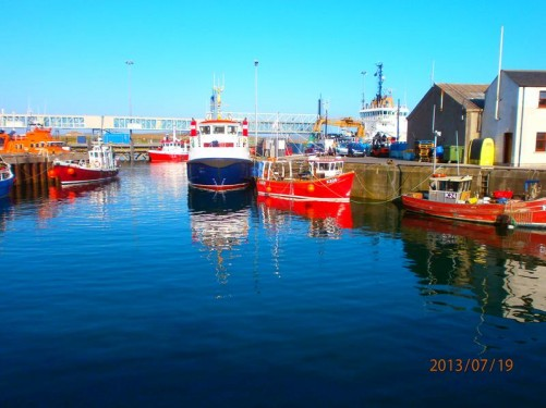 Fishing boats anchored in the harbour.