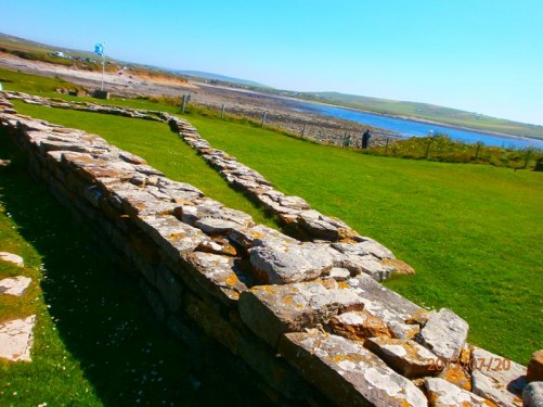 Remains of stone walls, part of the Norse settlement.