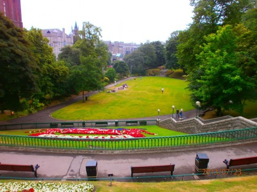 Good view looking across Union Terrace Gardens from the top of a slope on the north-west side.