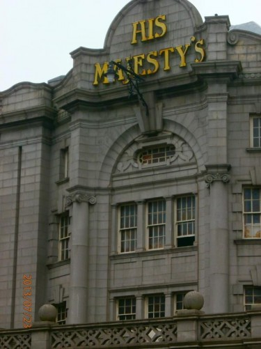 The upper front façade of His Majesty's Theatre. Located opposite the William Wallace statue on Rosemount Viaduct. It opened in 1906.