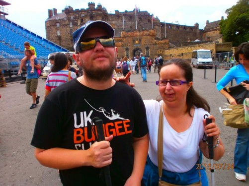 Tony and Tatiana at the Esplanade, a forecourt to Edinburgh Castle. It is used for concerts and other events. Raised rows of seating can be seen.