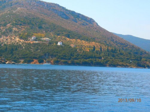 The hilly coastline of Ithaki.