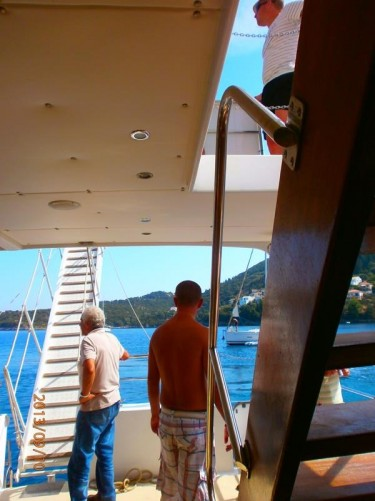 Back on the boat. Looking towards the stern.