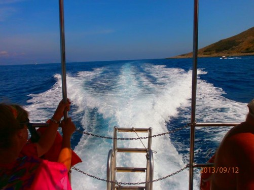 Looking from the stern of the boat. A long trail of waves and spray generated by the propellers in the water behind.