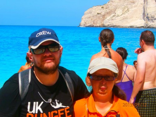 Close-up of Tony and Tatiana on Navagio Beach.