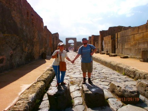Again Tony and Tatiana on the stone blocks but looking in the other direction towards the Arch of Caligula.