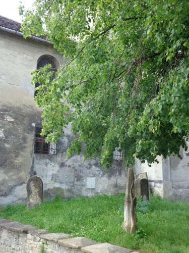 Old grave stones at the side of the Dominican Monastery Church. The church is Gothic in style and is located next to Museum Square (Piața Muzeului) not far from the Clock Tower. The first documentary evidence for the church dates from 1298. It was part of a Dominican Monastery until the 1550s, when secularisation of the monasteries forced the Dominicans to leave Sighișoara, and it was taken over by the city council.