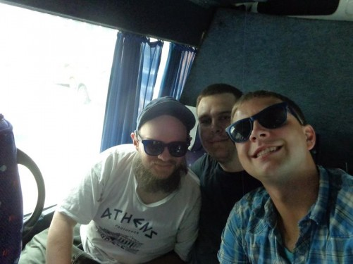 Tony with two guys from Germany on a bus heading to Turda.