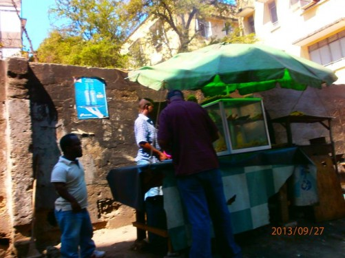 A street stall selling fast food outside the Safari Inn Ltd hostel (1365/208 Band Street).