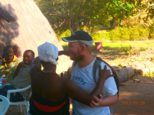 Tony dancing with one of the local women.