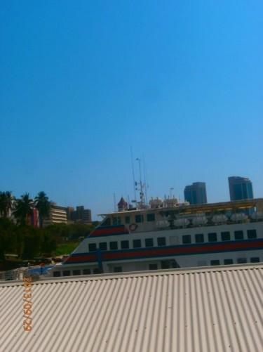On-board a ferry at Dar es Salaam preparing to leave for Zanzibar.