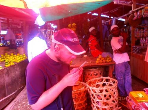 Tony in Darajani Market, the main bazaar of Zanzibar.