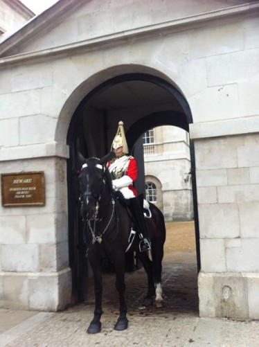 Another ceremonial guard on horseback at the front of Horse Guards.
