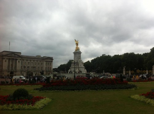 View across formal flower beds in front of Buckingham Palace to the Victoria Memorial.
