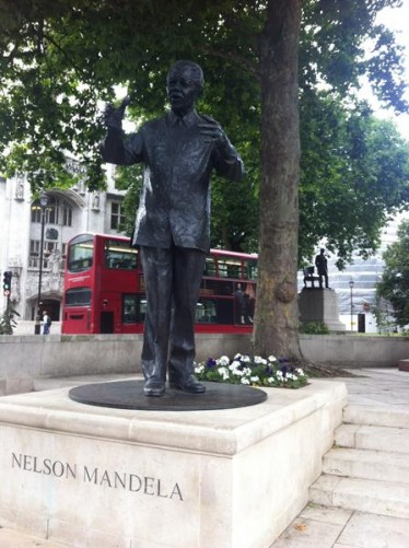 A statue of Nelson Mandela in Parliament Square. This bronze sculpture of the former South African president and anti-apartheid leader was unveiled in August 2007. It is 2.7 metres (9 feet) high.