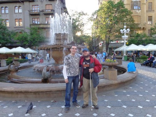 Tony with a different Romanian guy in front of Fish Fountain in Victory Square (Piata Victoriei) in the centre of Timișoara.