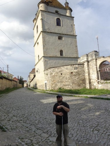 The bell tower of St Stefan Orthodox Church. This is the oldest Armenian Orthodox church in Ukraine. Most of the church is in ruins. Some columns and parts of the five-feet-wide outer walls survive in addition to the bell tower.