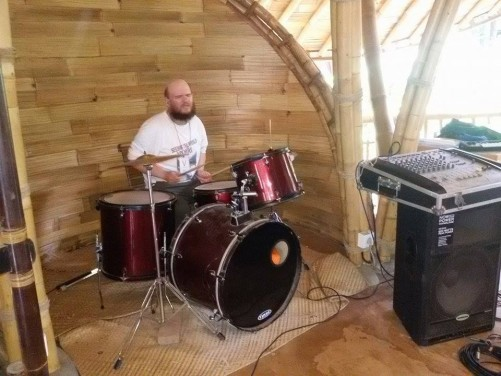 Tony playing drums.