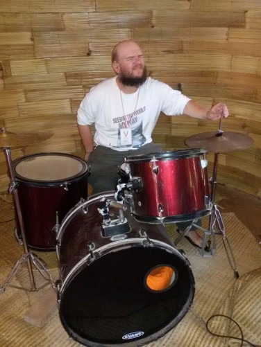 Another shot of Tony playing drums at the Green School.