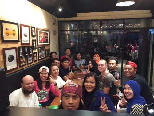 Tony with friends. Group photo at a meeting of the Backpacker Dunia Kalimantan Barat community. In English the name translates as 'World Backpacker Community of West Kalimantan'. 22 people in total.