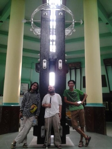 Tony with Dwi and Eric inside the Equator Monument.