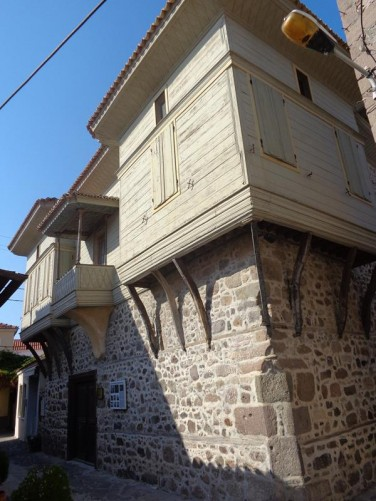 Vareltzidena Mansion in Petra. A well-preserved early 18th century two storey house. The ground floor is built with thick stone walls, while the upper storey is made of wood. It has been recently restored and is open as a museum.