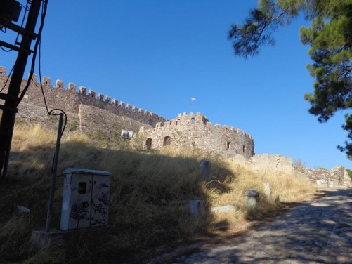Another view of the fortified stone walls around Mytilene Castle.