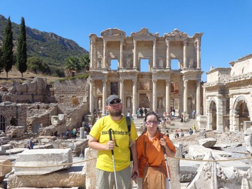 Tony and Tatiana at the Celsus Library.