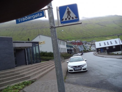 A main street in Fuglafjørður, a small settlement that sits at the end of a fjord in the north part of Eysturoy. It has a small tourist office.
