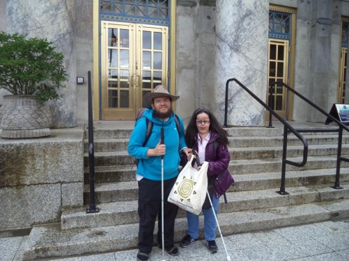 Tony and Tatiana outside the main entrance to the Alaska State Capitol building. Constructed between 1929 and 1931. It houses the Alaska Legislature and the offices for the governor of Alaska.