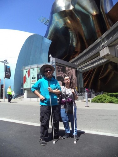Tony and Tatiana outside the Experience Music Project (EMP) Museum. Designed by Frank Gehry, its main entrance 'Sky Church' supposedly resembles a smashed up guitar and pays homage to rock legend Jimi Hendrix!
