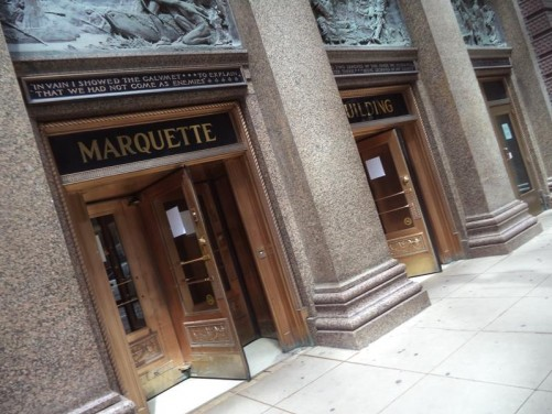 Entrance to the Marquette Building. Completed in 1895, this early steel-framed skyscraper is considered one of the best examples of the Chicago School of architecture.