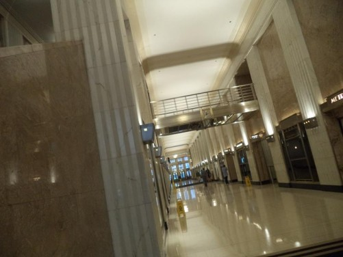 Inside the Bank of America Building. A long entrance lobby again in Art Deco style.