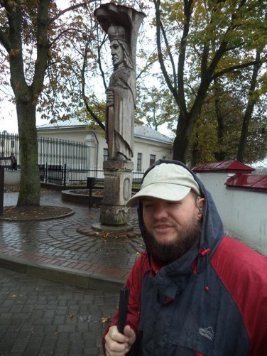 Tony close to a stone statue of Vytautas the Great. He lived from circa 1350 to 1430 and was one of the most famous rulers of medieval Lithuania. He ruled the Grand Duchy of Lithuania from 1392 to 1430, before this he was Prince of Hrodna from 1370 to 1382.