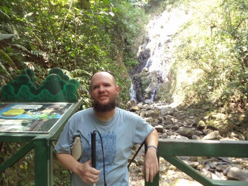 Tony at Chorro Macho (Macho Waterfall). The waterfall is apparently 115 feet (35 metres) in height.