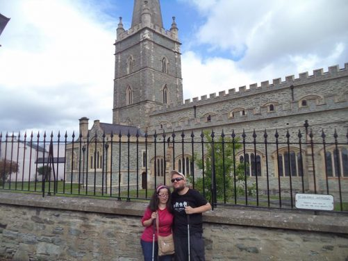 Tatiana and Tony outside St Columb's Cathedral. This Church of Ireland (Anglican) cathedral was completed in 1633 in Gothic style.