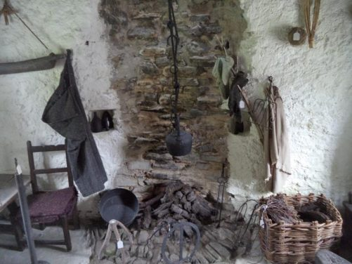A simple fireplace inside a traditional house. Taken at Glencolmcille Folk Village, which features re-creations of dwellings from the 18th, 19th and 20th centuries, intended to show how people used to live and their daily routines.