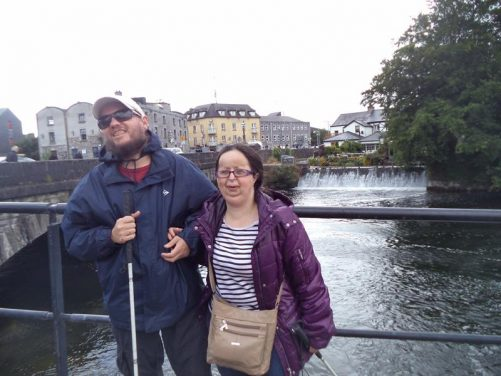 Tony and Tatiana next to O'Briens Bridge over the River Corrib.