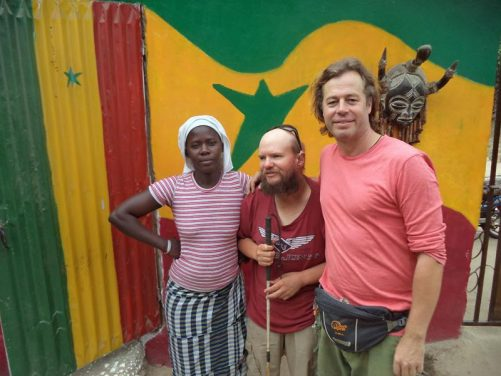 Tony with Simon and Khady. Simon is from England, a friend of Tony's and owner of the guesthouse. Khady is Simon's Senegalese partner.