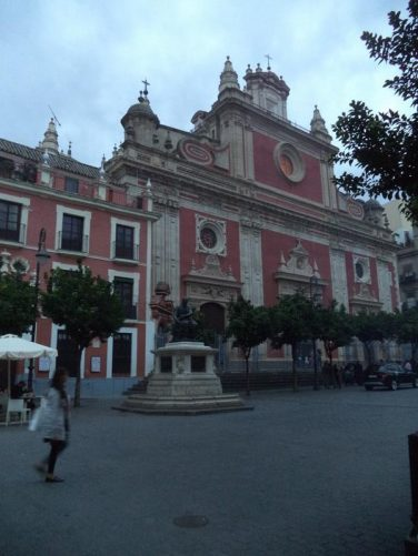 In Plaza del Salvador looking towards El Salvador Church. This church is the second largest in Seville after the Cathedral. It was built between 1694 and 1712 in the baroque style.
