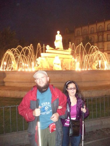 Tony and Tatiana by the large Fountain of Hispalis in Plaza Puerta de Jerez. The fountain was built in 1929 for the Ibero-American Exposition. Seville was founded as the Roman city of Hispalis.