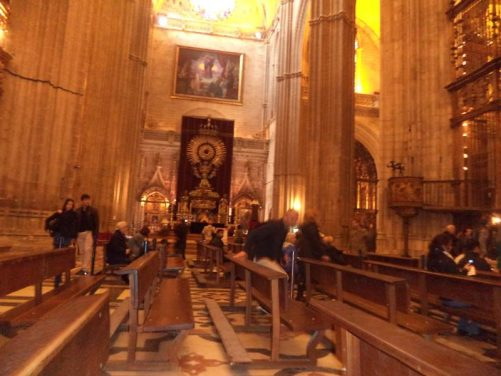 Pews inside the Cathedral of Saint Mary of the See, better known as Seville Cathedral.