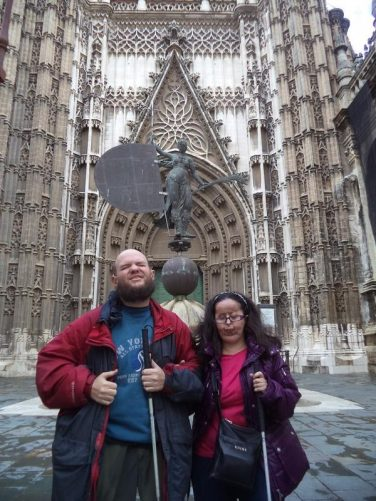 Tony and Tatiana outside the Prince's Door (Puerta del Príncipe) on the south façade. This is one of Seville Cathedral's 15 doors.